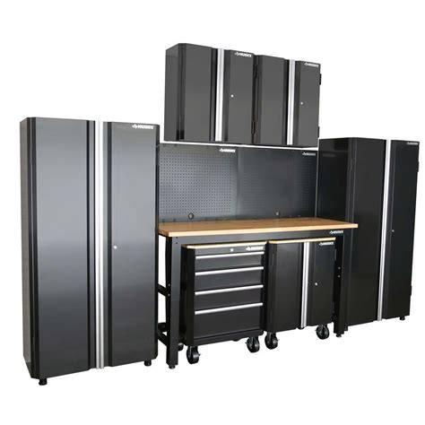 home depot garage shelving husky 98 in h x 145 in w x 24 in d steel garage cabinet