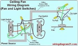 How To Wire A Ceiling Fan With Two Switches Diagrams