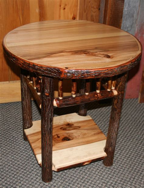 hickory log side table fashioned hickory side table