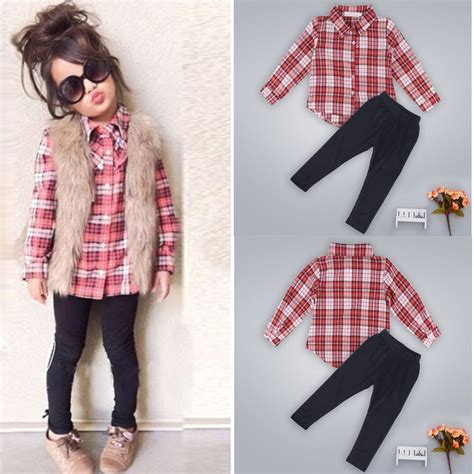 In 5 Introductory Offer Children 39 S Clothes Toddler Baby Clothes Plaid T Shirt