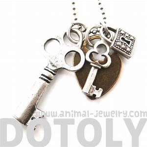 Antique Skeleton Locks and Keys Charm Necklace in Silver ...