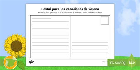 * New * Ficha De Actividad Postal Para Las Vacaciones De Verano