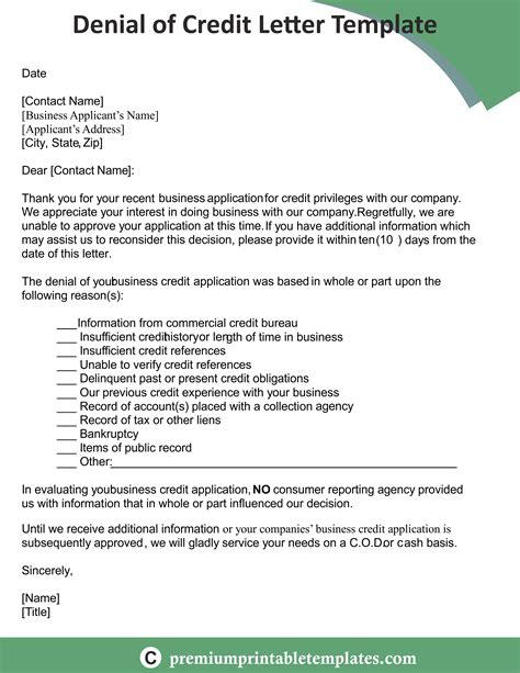 denial  credit letter templates credit letter
