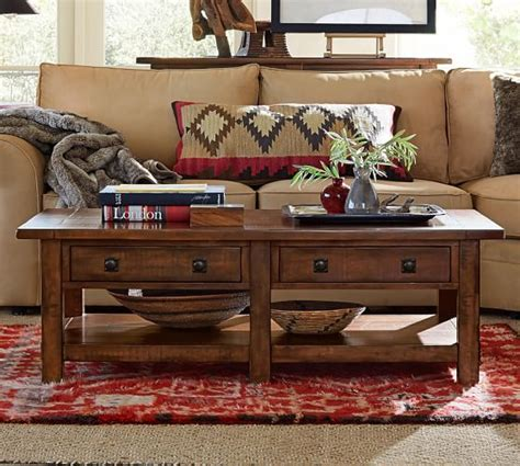 pottery barn coffee table benchwright rectangular coffee table rustic mahogany