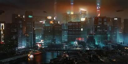 Cyberpunk 2077 Night Map Concept Districts