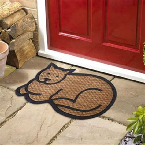 doormat cat cat shaped coir doormat on sale free uk delivery