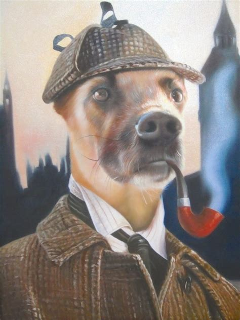 sherlock dog painting oil holmes pet paintings portrait cat template portraits artists templates beast photographs splendid animal canvas specific poster