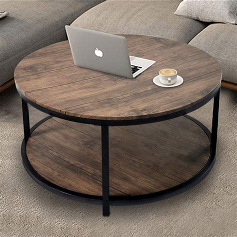 """Storage coffee tables for a tidy living room. 36"""" Wood Round Coffee Table, Industrial Wood Top & Sturdy Metal Legs for Living Room Modern ..."""