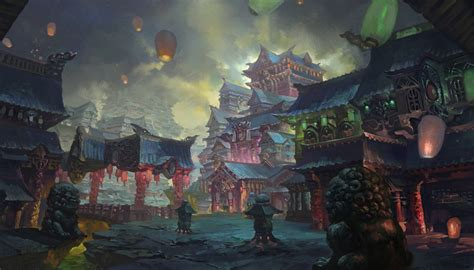 shrine asian lanterns fantasy world