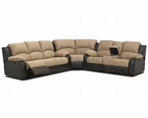 two tone hot chocolate fabric reclining sectional sofa With sectional couch with 2 recliners