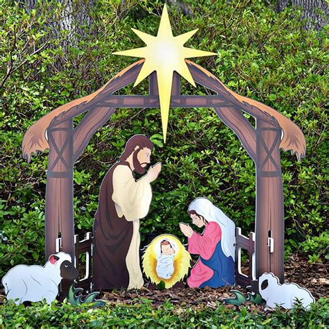 wooden outside nativity set holy printed outdoor nativity set