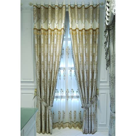 beige floral jacquard polyester custom patio door curtains