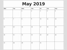 May 2019 Free Printable Monthly Calendar