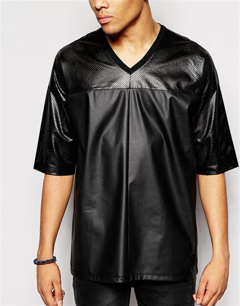 Asos Shirt With Mesh Faux Leather Panels