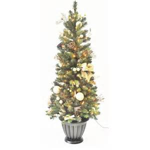 shop allen roth 5 ft indoor outdoor pre lit pine artificial christmas tree with clear lights