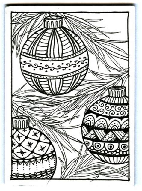 christmas ornaments zentangle  plain jane  splitcoaststampers