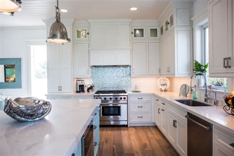 White Coastal Kitchen Featuring Inset Cabinetry