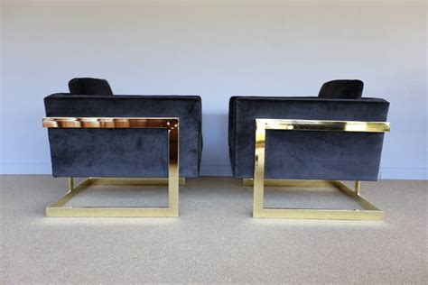 pair of brass and black velvet quot cube quot chairs by milo