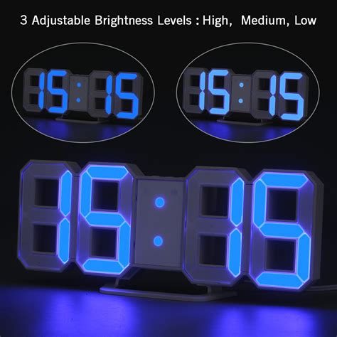 usb digital led wall table clock alarm snooze timer