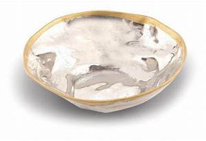 Serving Bowl, Silver/Gold Design - Home Accents