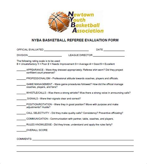 basketball evaluation forms  premium