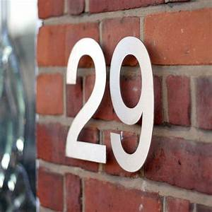 large modern stainless steel house numbers by goodwin With large exterior house letters