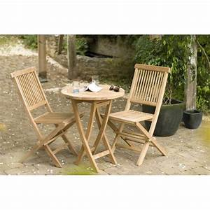 Chaise Teck Jardin : salon de jardin en teck table ronde 2 chaises 60cm summer pier import ~ Teatrodelosmanantiales.com Idées de Décoration