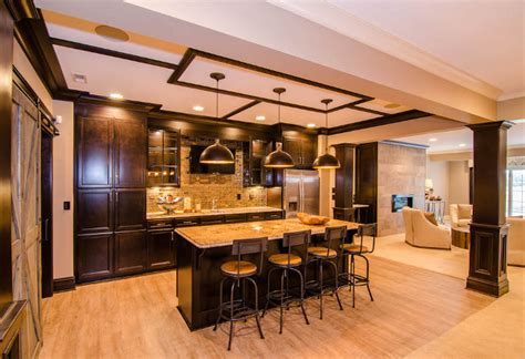 Beautiful Family Home With Open Floor Plan Living Room In Fau Gianna Leather Furniture Carpet Or Laminate Pictures Of Area Rugs L Shaped Ideas India Turn Into Bar Song Modern Brown Color For With Dark