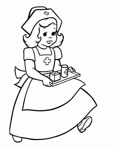 Coloring Nurse Nurses Doctor Drawing Female Male