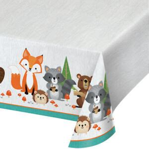 Wild One Woodland Animal Party Plastic Tablecover Forest