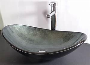 Waschbecken Oval Aufsatz : nero badshop aufsatz glas waschbecken grau blau oval online kaufen ~ Orissabook.com Haus und Dekorationen