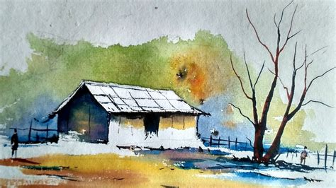 Watercolor Painting For Beginners Village House