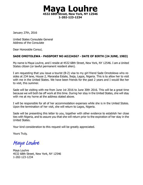 Invitation letter for visa application in japan
