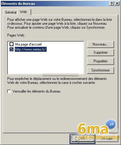 afficher une page web sur le bureau de windows xp