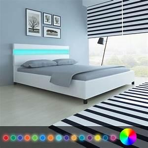 Tete De Lit Led : acheter lit en cuir artificiel blanc avec t te de lit led 200 x 160 cm pas cher ~ Teatrodelosmanantiales.com Idées de Décoration