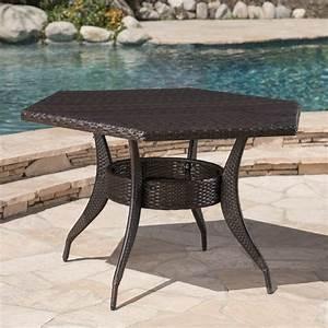 Outdoor, 53, Inch, Wicker, Hexagon, Dining, Table, Multibrown, -, Walmart, Com
