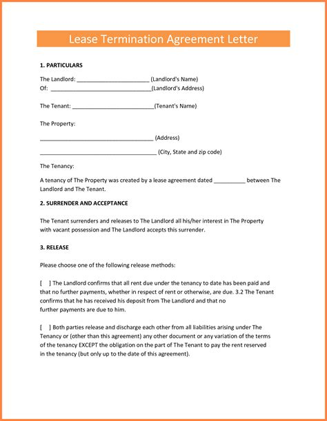 early termination  lease agreement  landlord