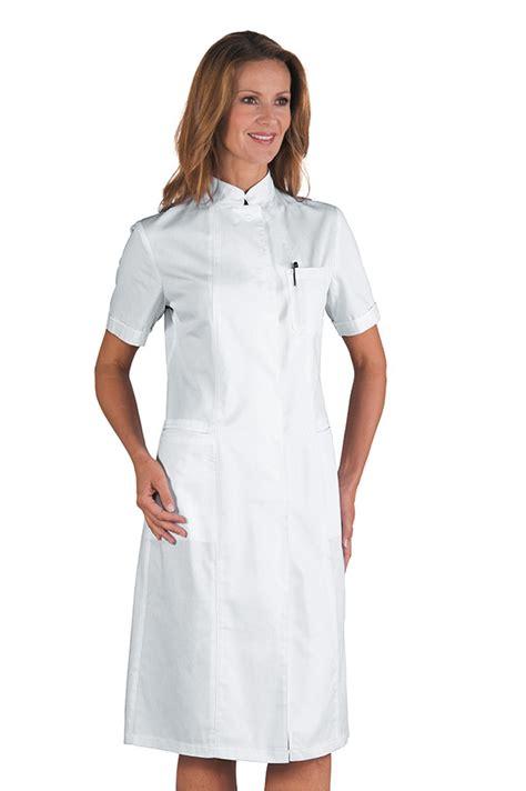 blouse blanche de travail en coton avec col mao