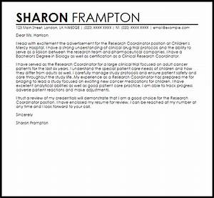 Research Coordinator Cover Letter Sample Cover Letter