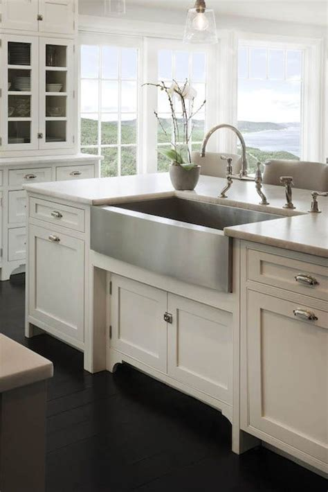 stainless steel apron sink white cabinets crown point cabinetry kitchens ocean view kitchen