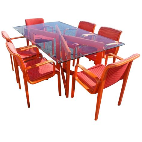 vintage italian dining set table 6 knoll chairs ebay