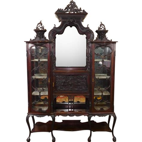 Etagere Vintage by Antique Edwardian Carved Mahogany Etagere Vitrine Cabinet