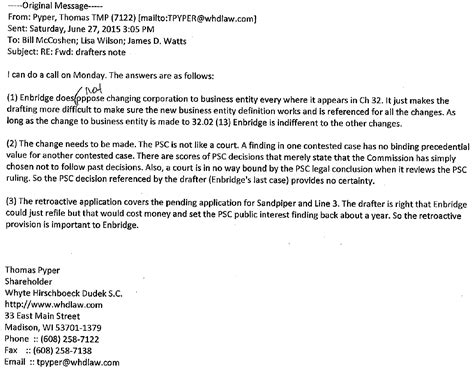 wisconsin legislative reference bureau emails enbridge attorney lobbyist wrote provisions into