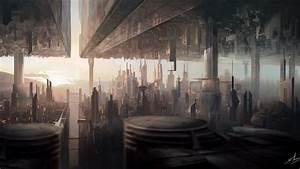 wallpaper matte painting city futuristic