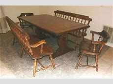 Vintage Ethan Allen Dining Set Trestle Table 6 Chairs Old