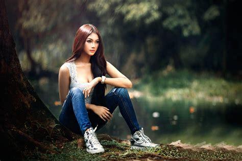 Asian, Women Outdoors, Model, Sitting, Redhead, Women ...