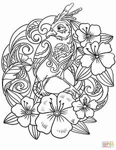 Parrot In Flowers Coloring Page Free Printable Coloring