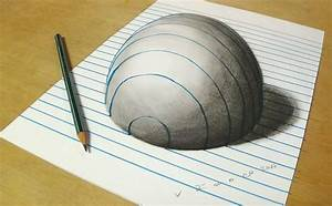 Trick Art on Lined Paper _ Drawing Half Sphere Optical ...