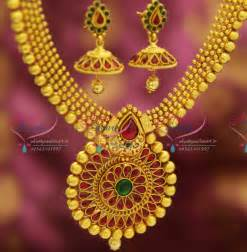 antique gold jhumka earrings nl2632 kempu style ruby broad design gold plated