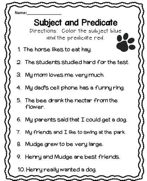 subject and predicate 1st grade k 2nd resources